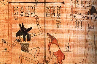 Egyptian God, Anubis, weighs souls